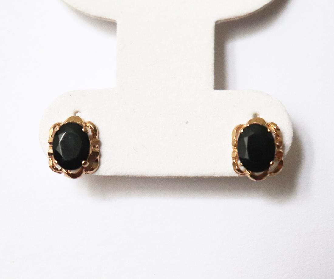 Natural Onyx Stud Earring 5.24Ct 18k R/g - 2