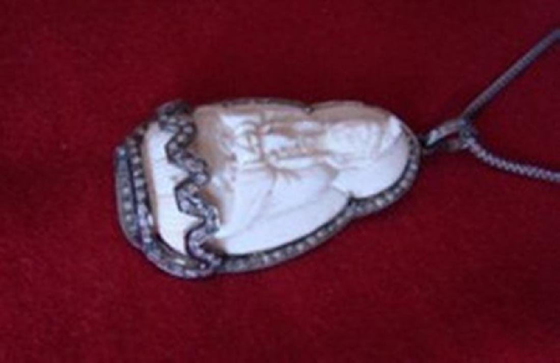Carved Bone Guanyin & Diamond 1.40Ct 18k B/g Overlay - 3