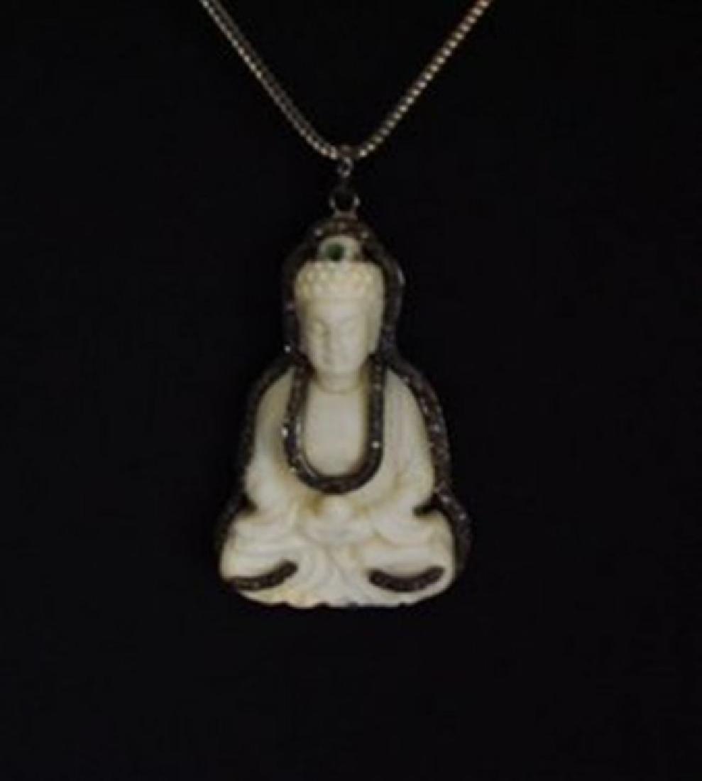 Carved Bone Gautama Buddha & Diamond: 1.10Ct 18k B/g Ov
