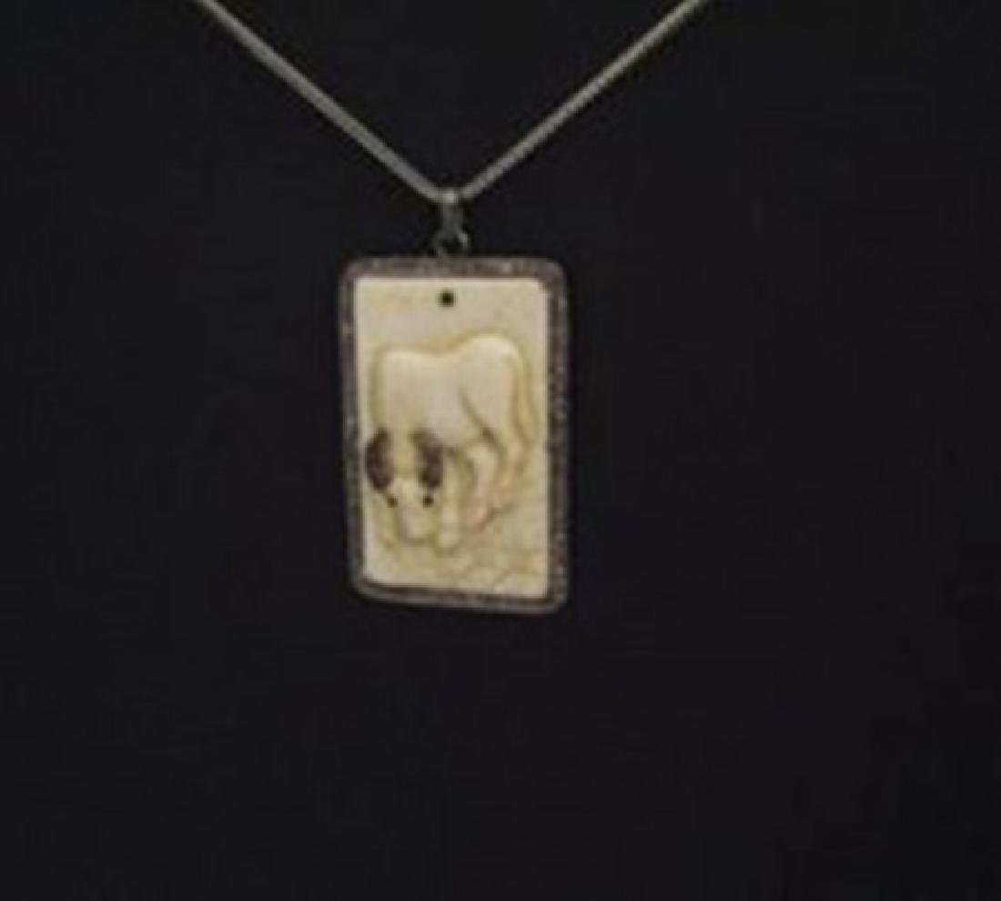 Carved Bone OX & Diamond: 1.10Ct 18k B/g  Overlay - 2