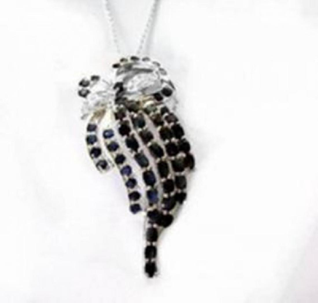 Sapphire Pendant Creation Diamond 8.65Ct 18kW/g Overlay