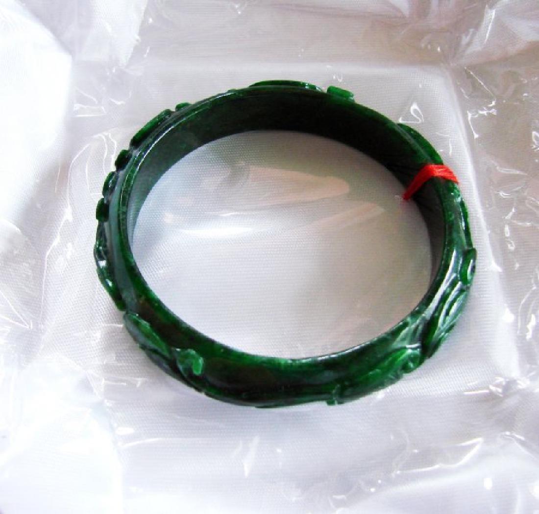 Natural Jade Carved Ruyi Imperial Bangle Grade A - 4