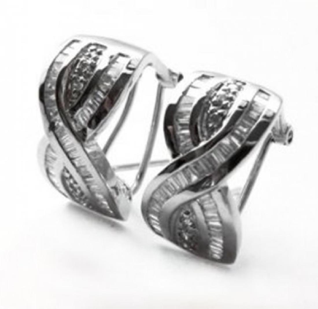 Stunning Diamond Earrings 1.38 Carat 14k W/g - 2
