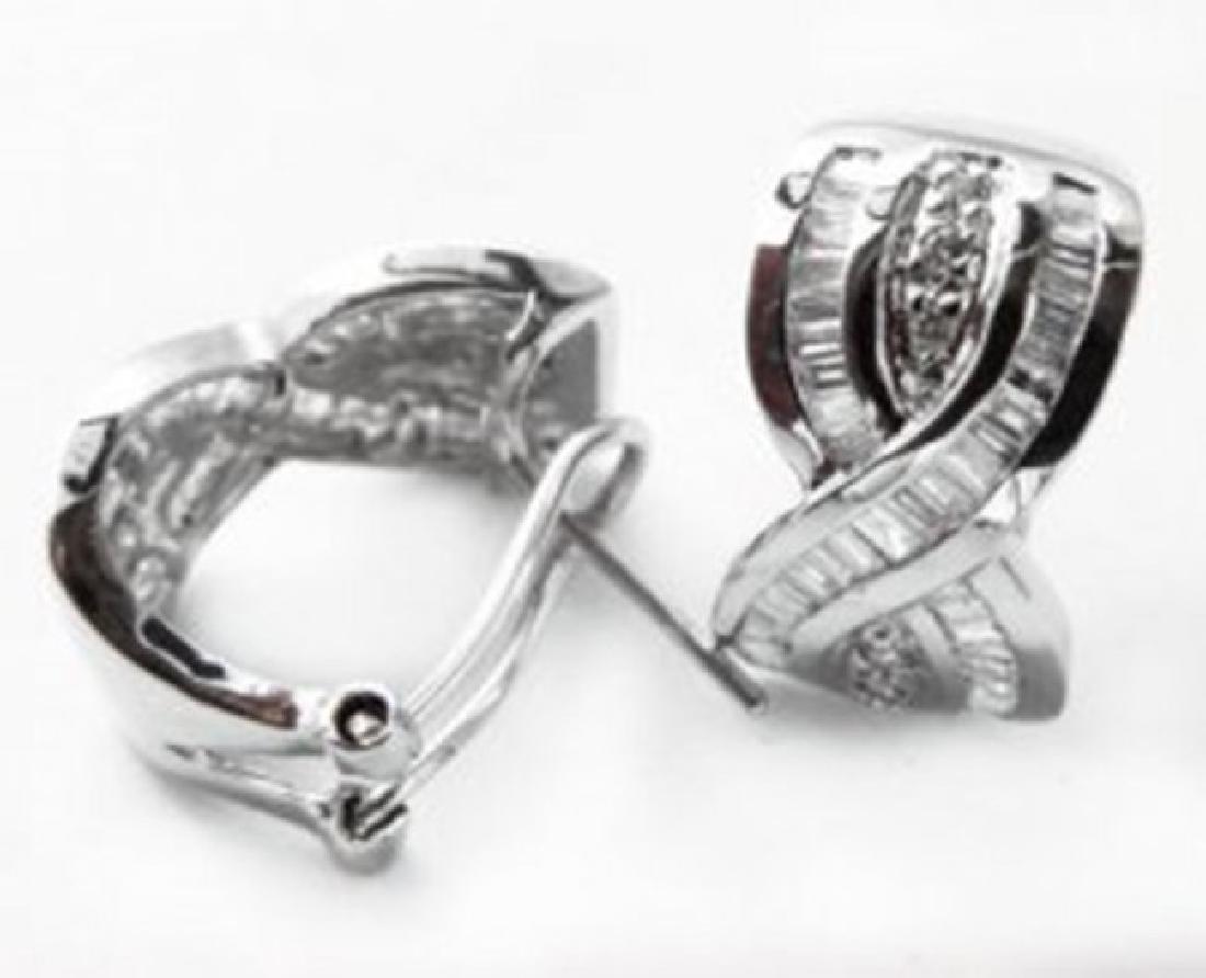 Stunning Diamond Earrings 1.38 Carat 14k W/g - 3