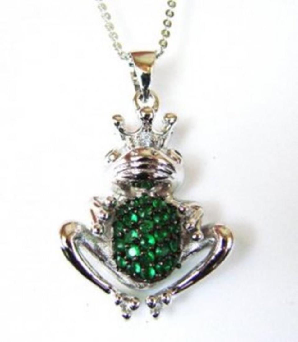 Creation Diamond/ Emerald Pendant 1.25Ct 18k W/g