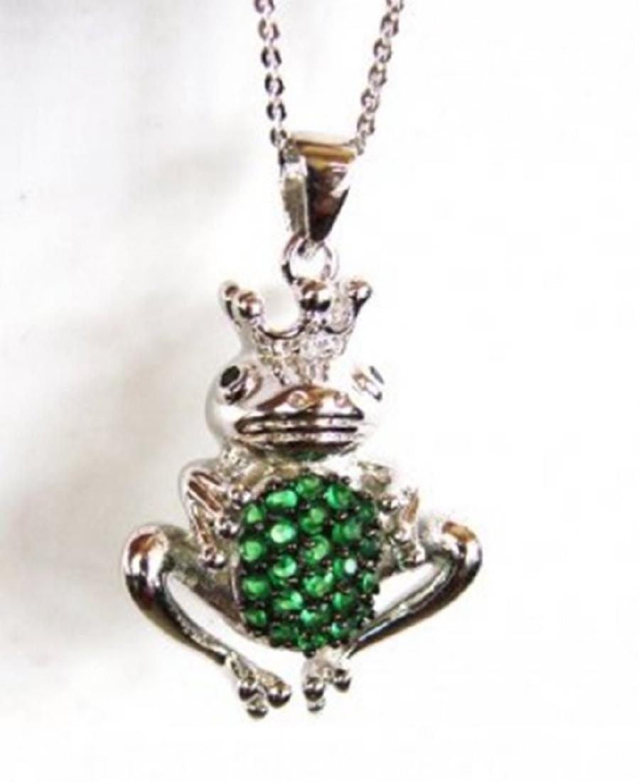 Creation Diamond/ Emerald Pendant 1.25Ct 18k W/g - 2