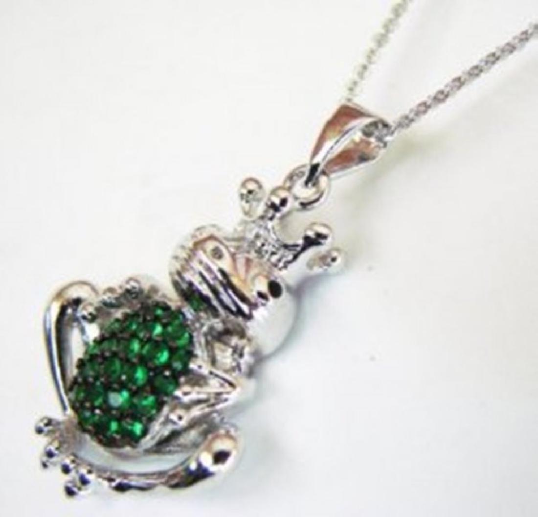 Creation Diamond/ Emerald Pendant 1.25Ct 18k W/g - 3