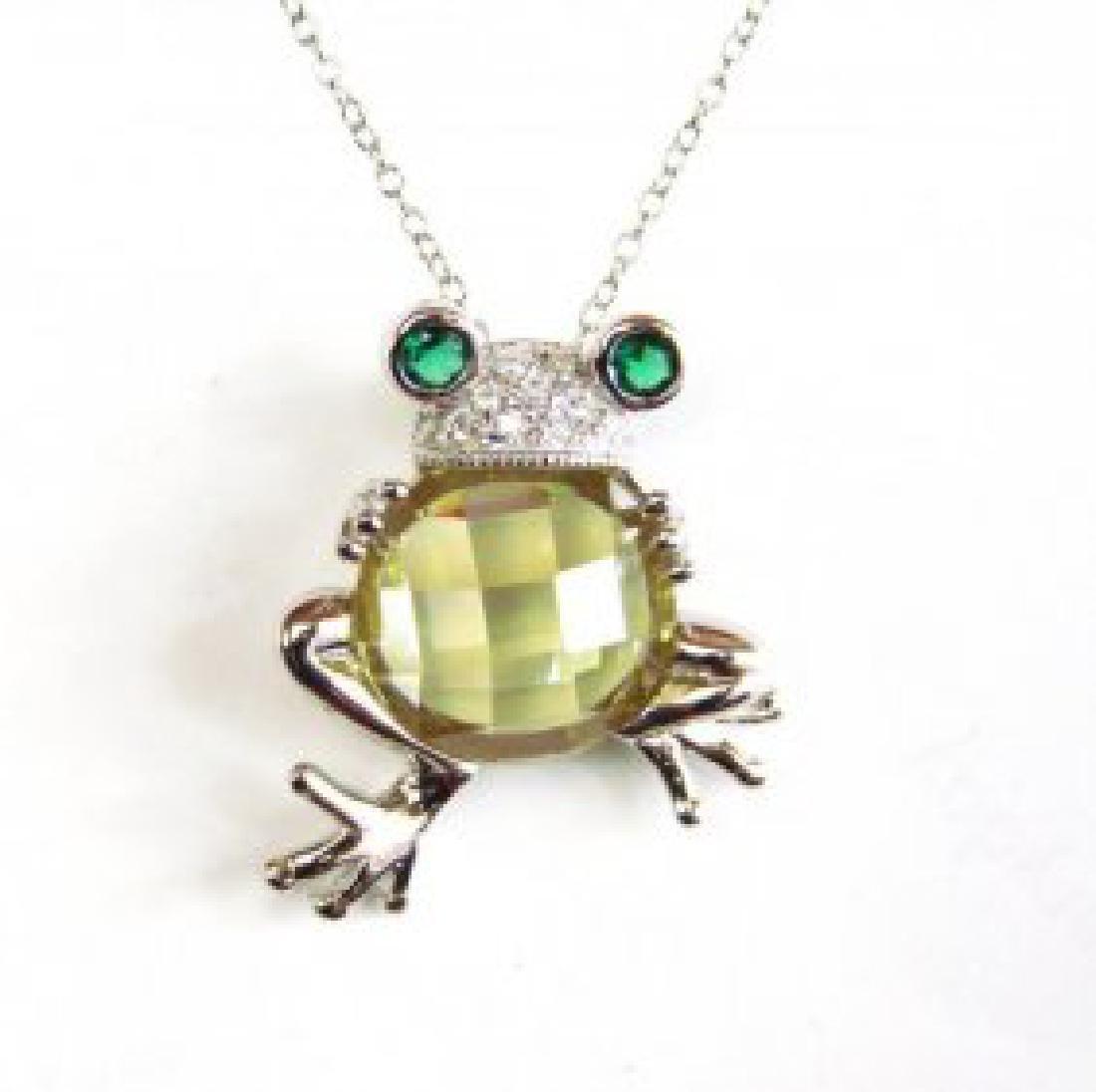 Creation Diamond/Limon Topaz/Emerald 6.10Ct 18k W/g