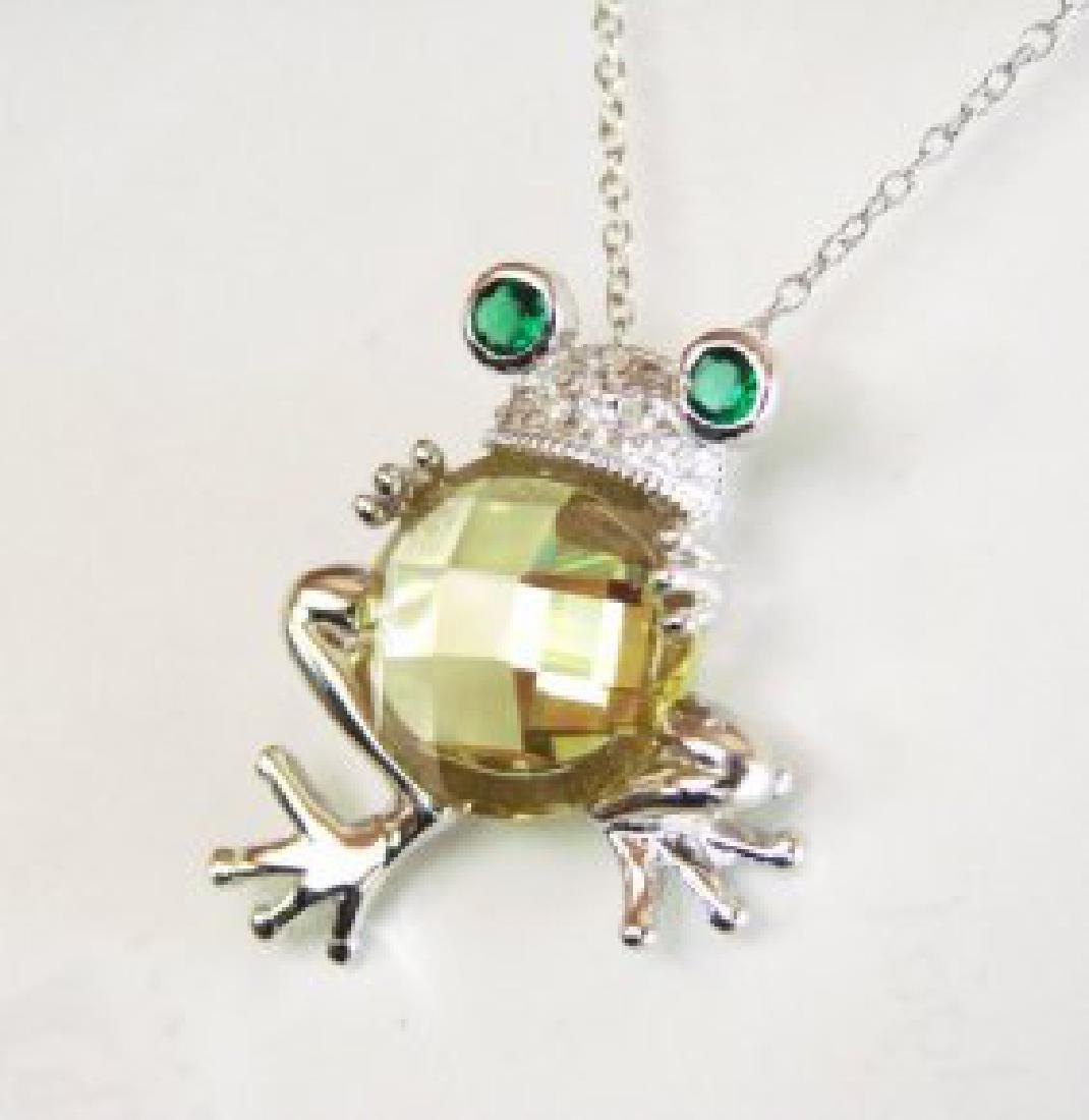 Creation Diamond/Limon Topaz/Emerald 6.10Ct 18k W/g - 2