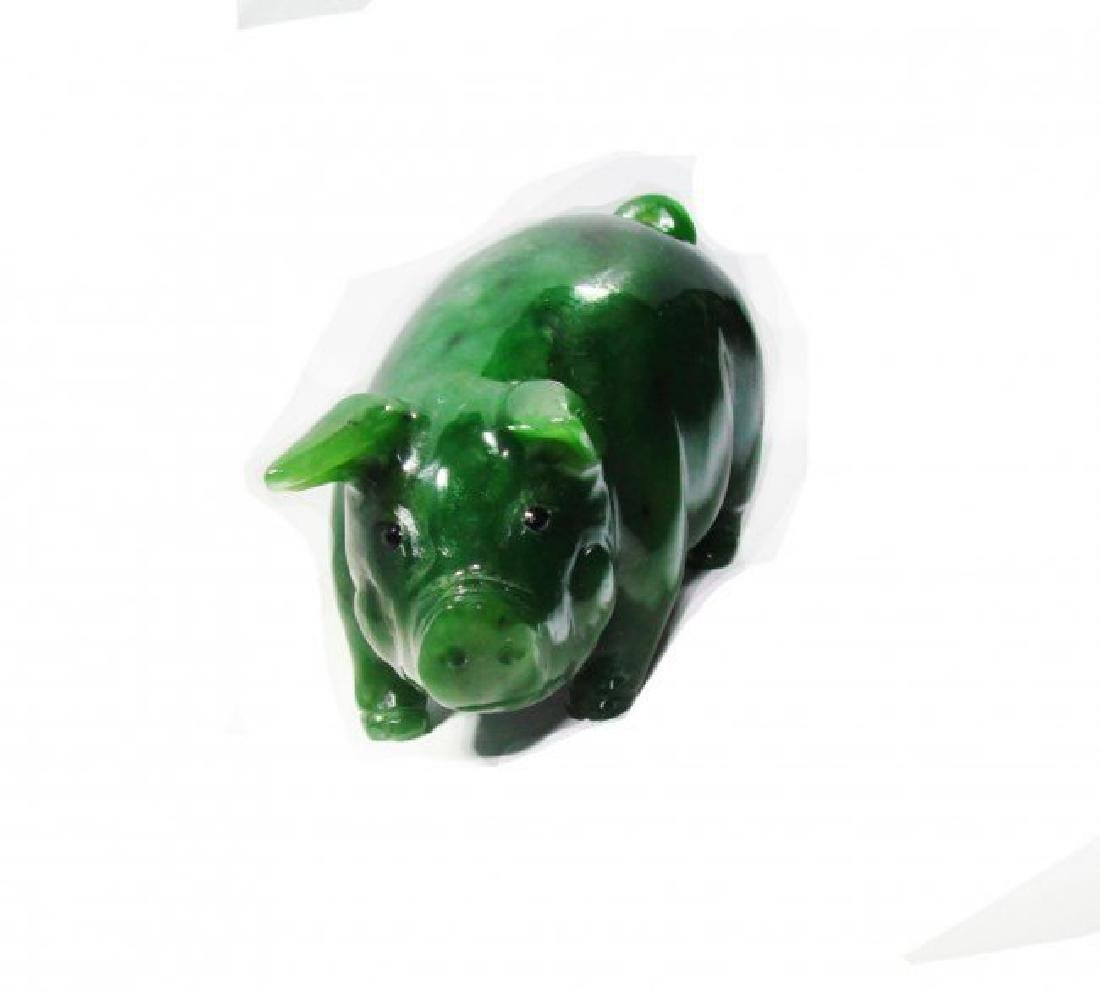 Canada Solid Natural Jade Carved Pig 1.20 pound