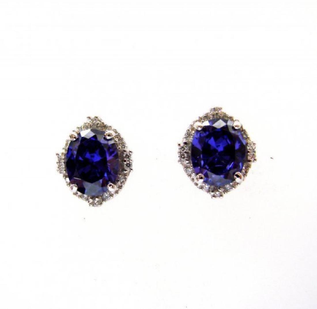 Creation Diamond/Tanzanite Earrings 7.44Ct 18k W/g