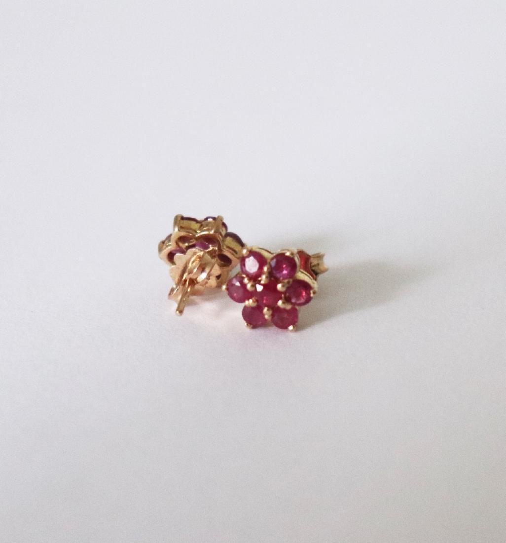 Natural Ruby Stud Earring 1.05Ct 18k Y/g - 3