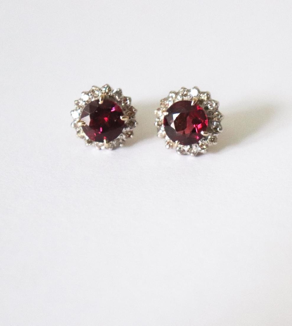 Natural Rhodolite-Diamond Stud Earring 5.73Ct 18k Y/g