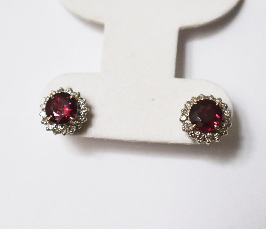 Natural Rhodolite-Diamond Stud Earring 5.73Ct 18k Y/g - 2