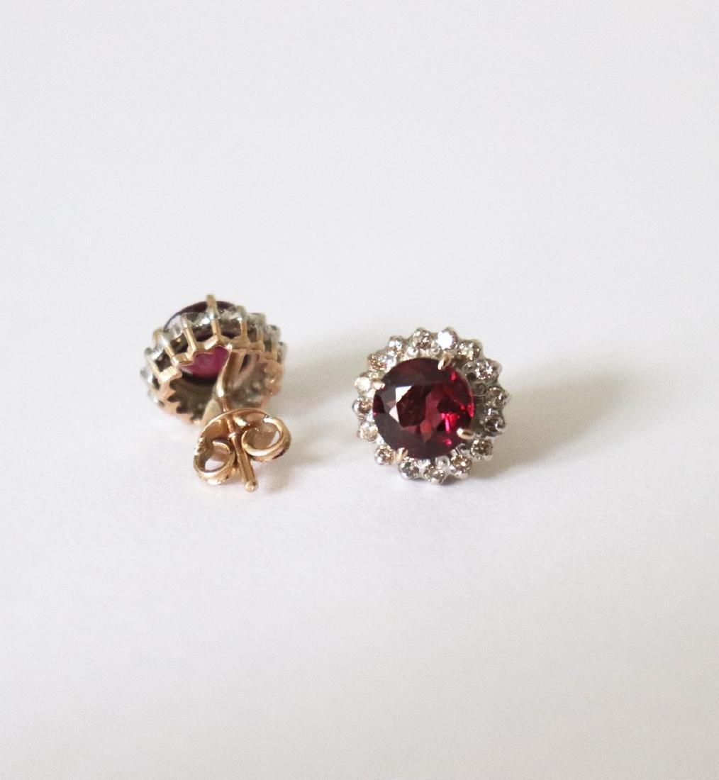 Natural Rhodolite-Diamond Stud Earring 5.73Ct 18k Y/g - 3