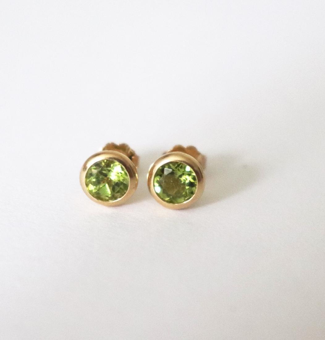 Natural Peridot Stud Earring 3.10Ct 14k Y/g