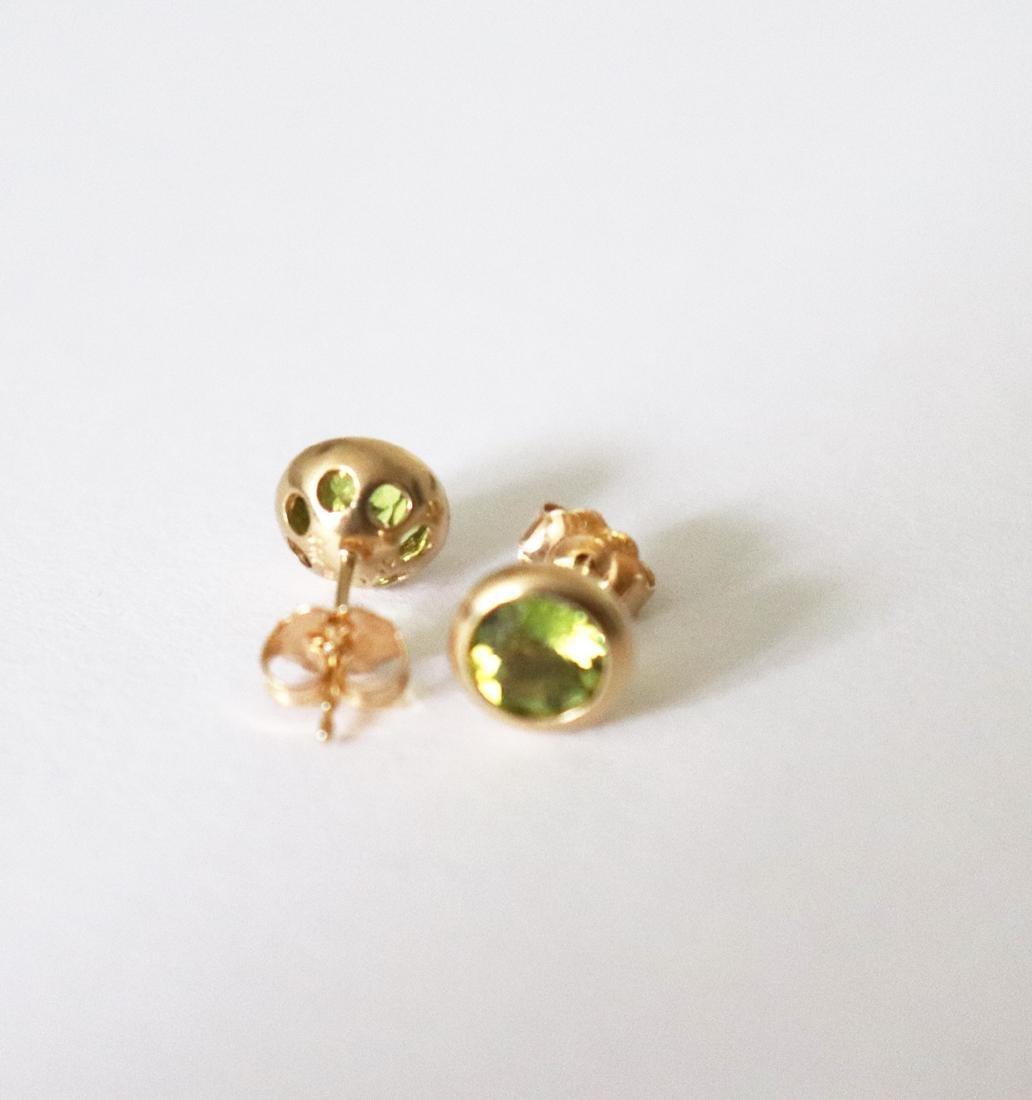 Natural Peridot Stud Earring 3.10Ct 14k Y/g - 3