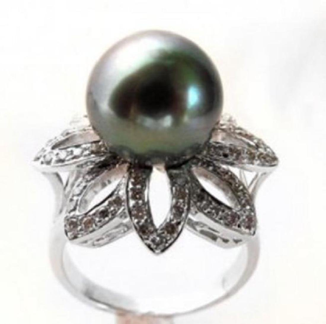 Tahitian Pearl 11mm Diamond Ring 1.48Ct 18k W/g - 2