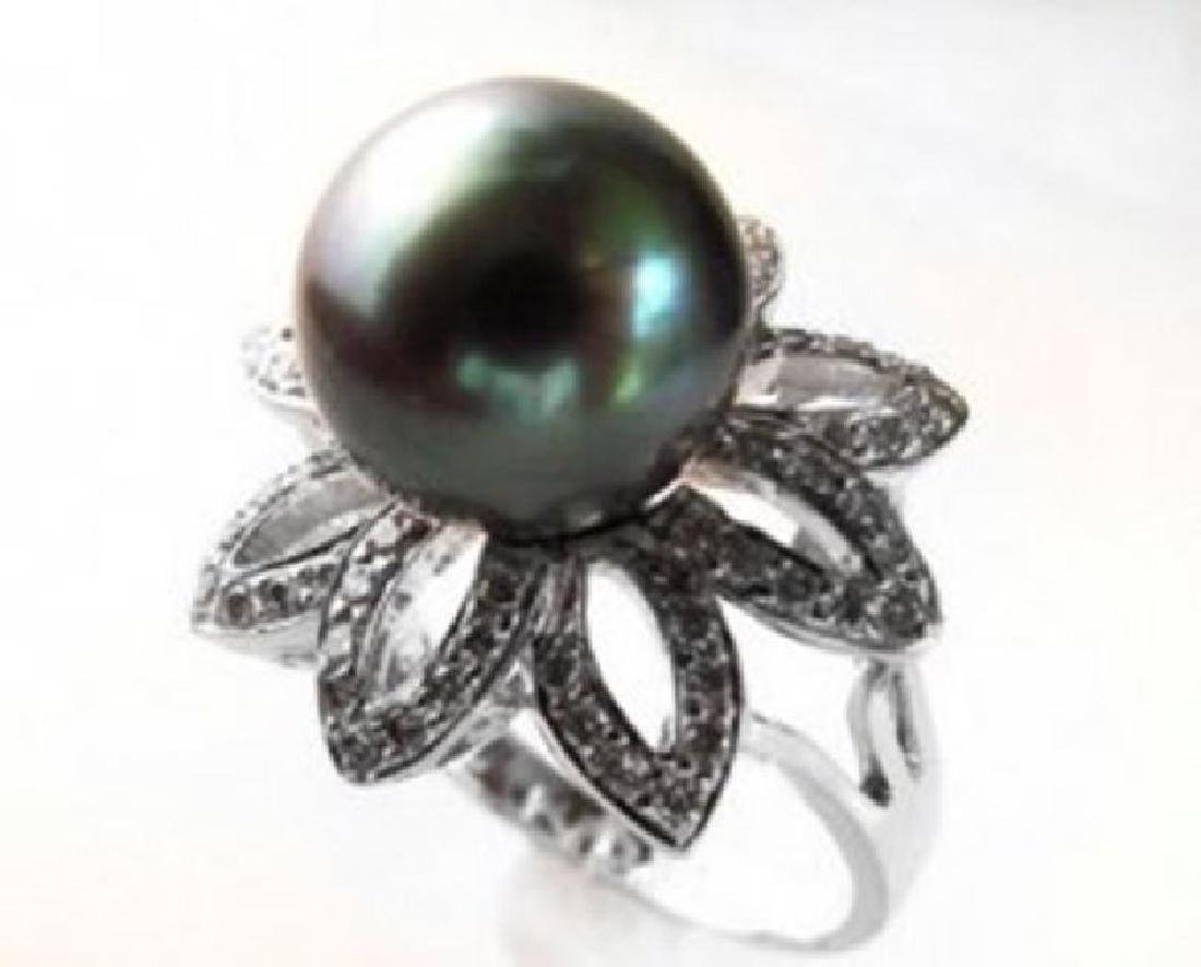 Tahitian Pearl 11mm Diamond Ring 1.48Ct 18k W/g - 3