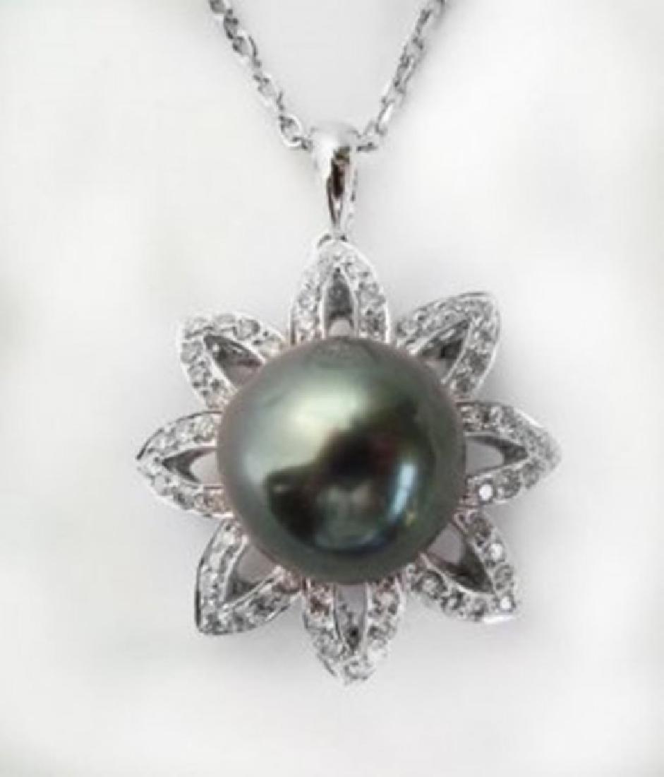Tahitian Pearl 11 mm Diamond Earring 2.88Ct 18k W/g