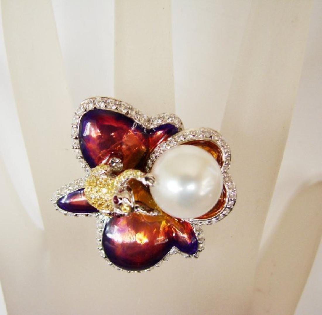 Culture Pearl Creation Diamond 1.23Ct 18k W/g Over - 2