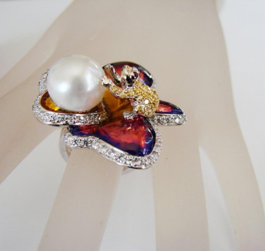 Culture Pearl Creation Diamond 1.23Ct 18k W/g Over - 6