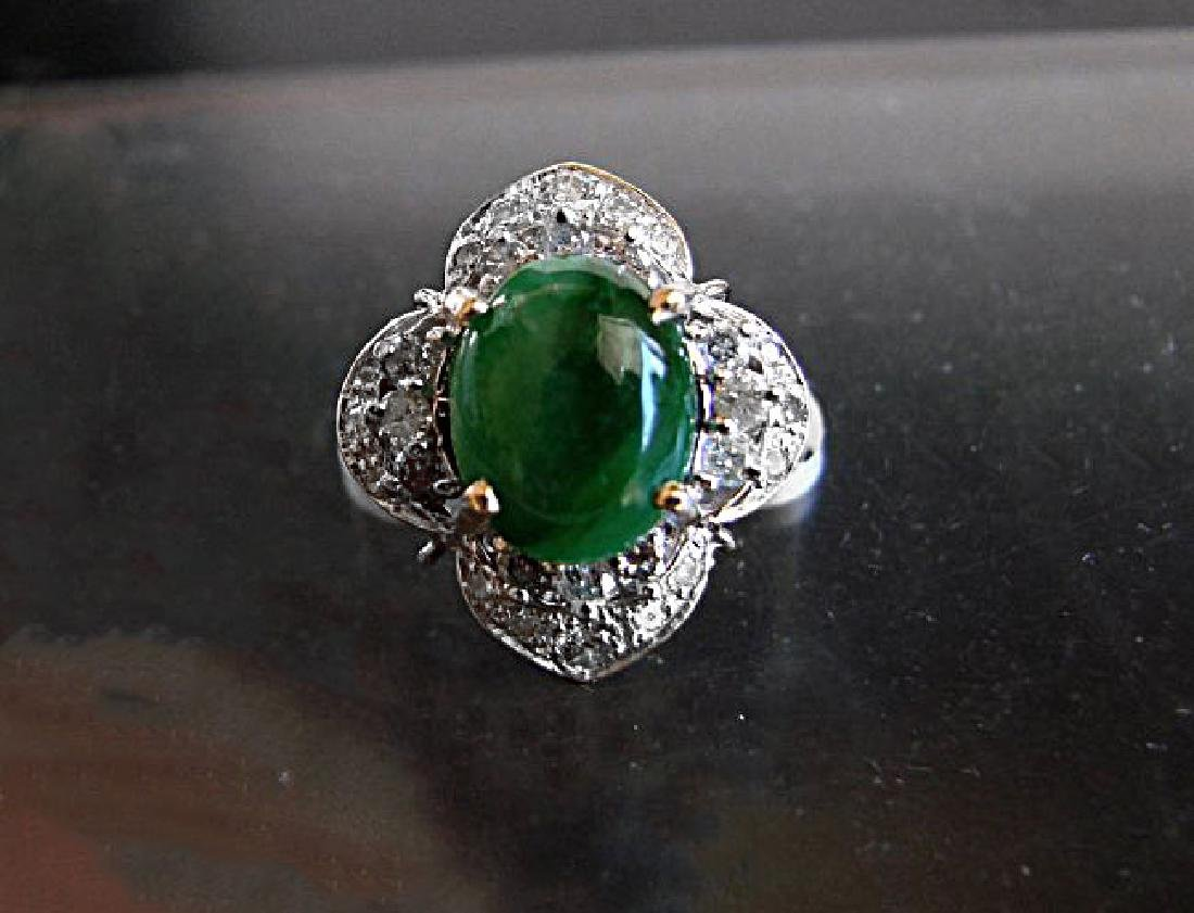 Anniversary Ring Imperial Jade/Diamond 3.40Ct 14k Y/W