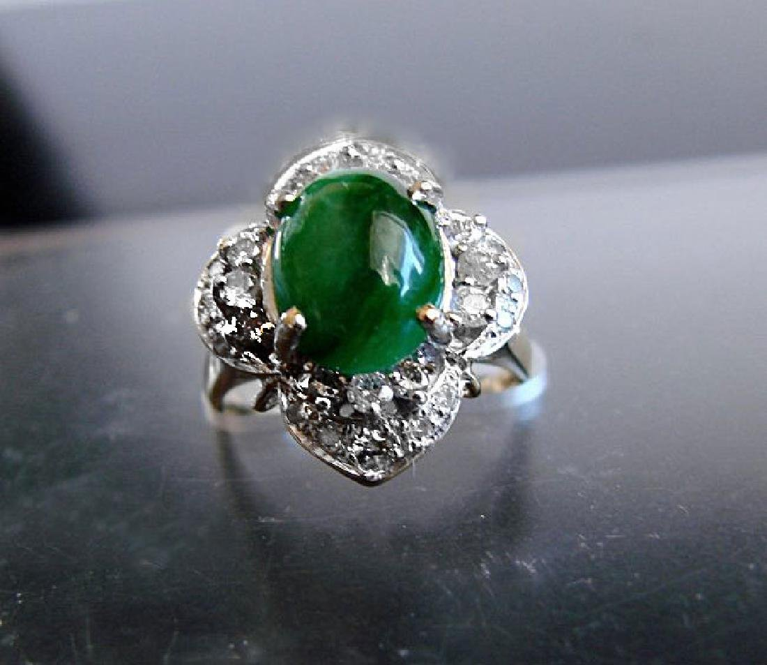 Anniversary Ring Imperial Jade/Diamond 3.40Ct 14k Y/W - 2