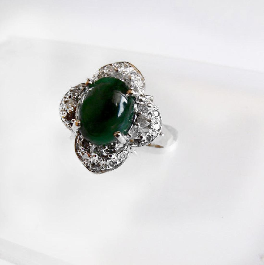 Anniversary Ring Imperial Jade/Diamond 3.40Ct 14k Y/W - 3