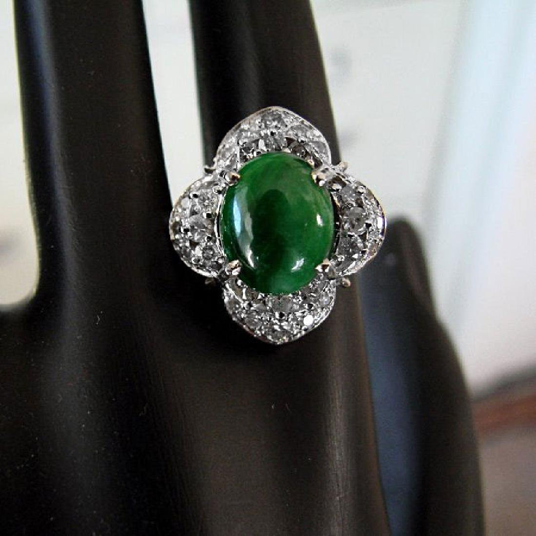 Anniversary Ring Imperial Jade/Diamond 3.40Ct 14k Y/W - 4