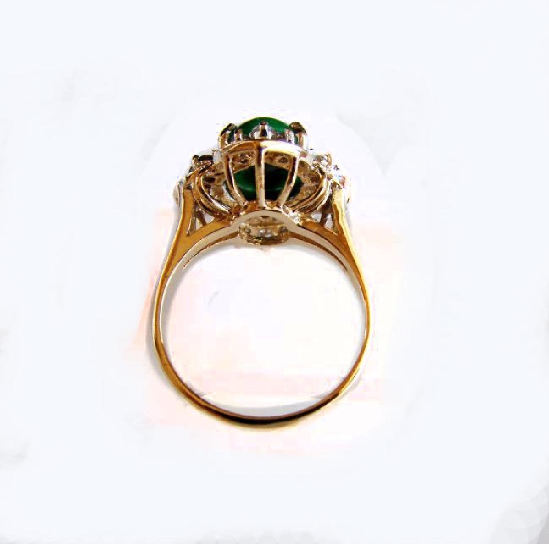 Anniversary Ring Imperial Jade/Diamond 3.40Ct 14k Y/W - 5