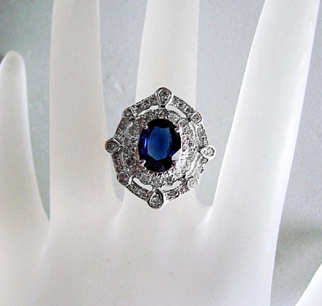 Ring Natural Blue Sapphire Diamond 4.33Ct 14k Y/g - 2