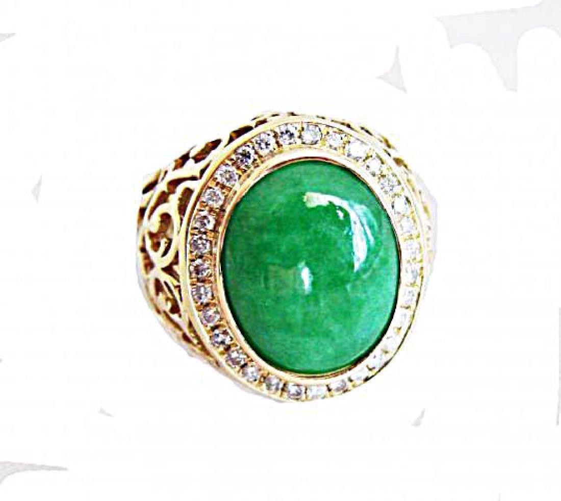 Man Ring Chinese Jade /Diamond 8.76Ct 18k Y/g Size 8