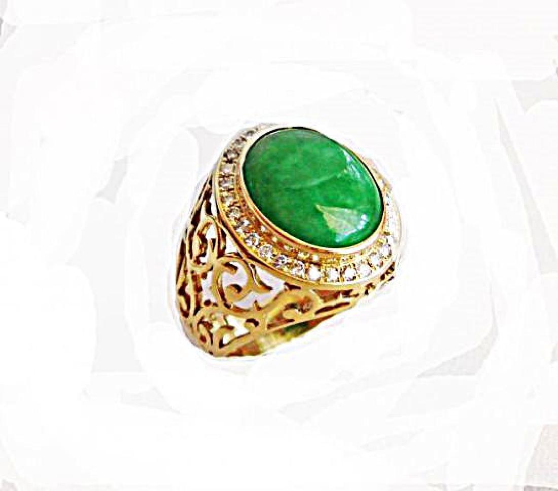Man Ring Chinese Jade /Diamond 8.76Ct 18k Y/g Size 8 - 2