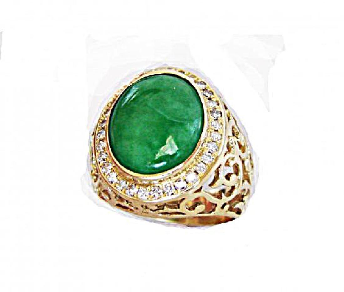 Man Ring Chinese Jade /Diamond 8.76Ct 18k Y/g Size 8 - 3