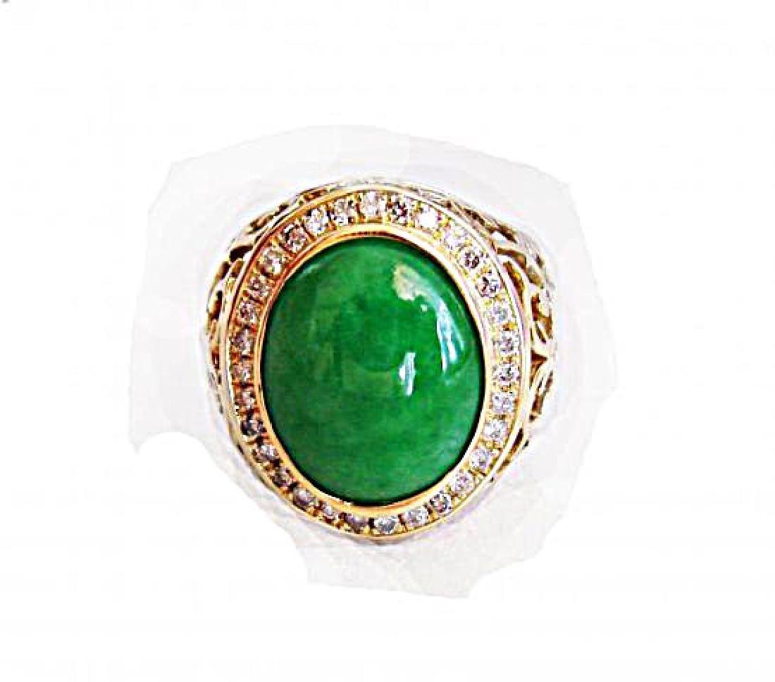 Man Ring Chinese Jade /Diamond 8.76Ct 18k Y/g Size 8 - 5
