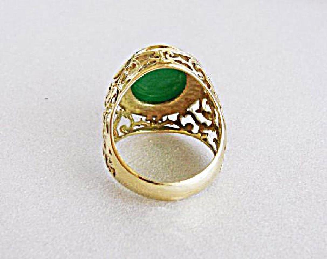 Man Ring Chinese Jade /Diamond 8.76Ct 18k Y/g Size 8 - 6