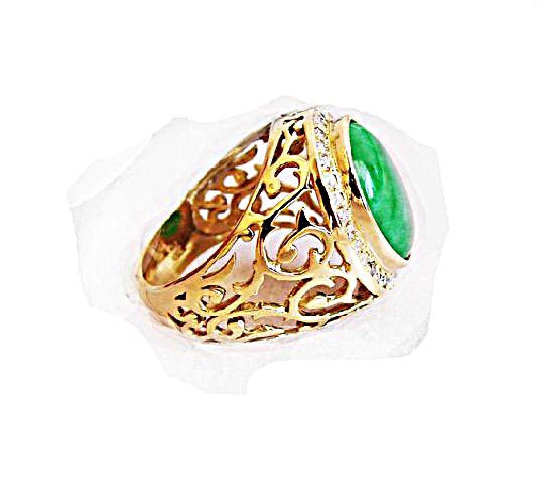 Man Ring Chinese Jade /Diamond 8.76Ct 18k Y/g Size 8 - 7