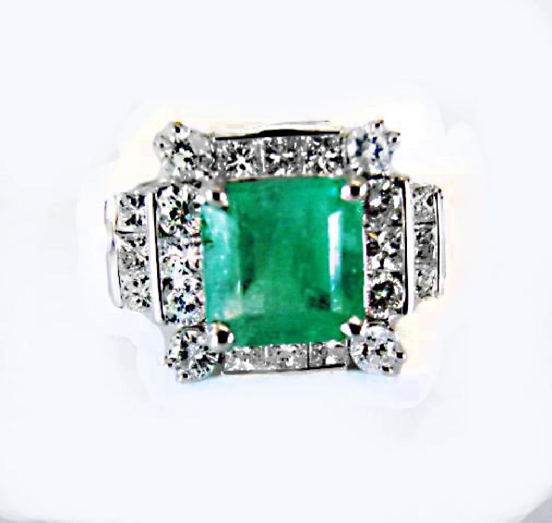 Natural Emerald Diamond Ring 4.74Ct 14k W/g