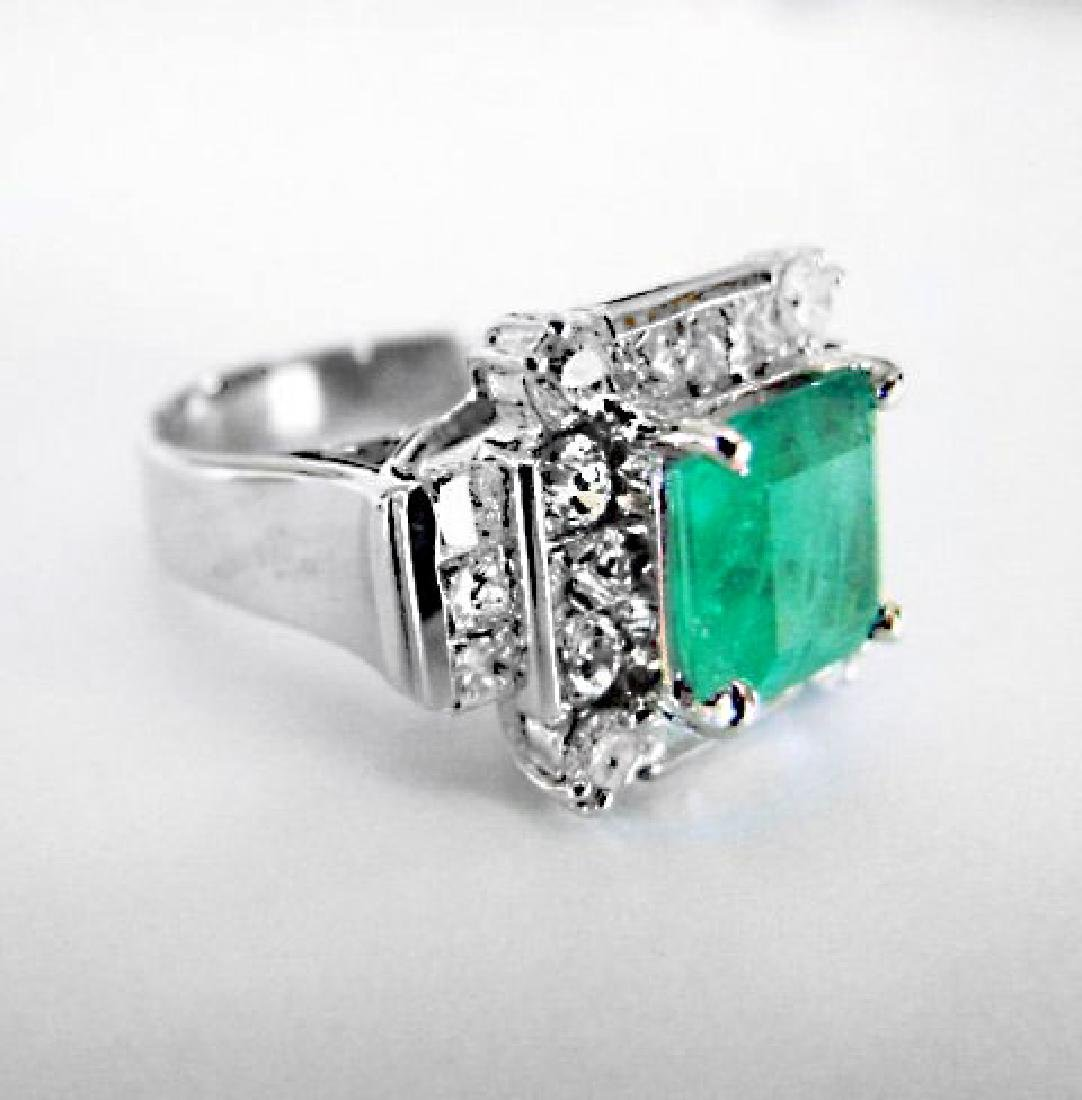 Natural Emerald Diamond Ring 4.74Ct 14k W/g - 2