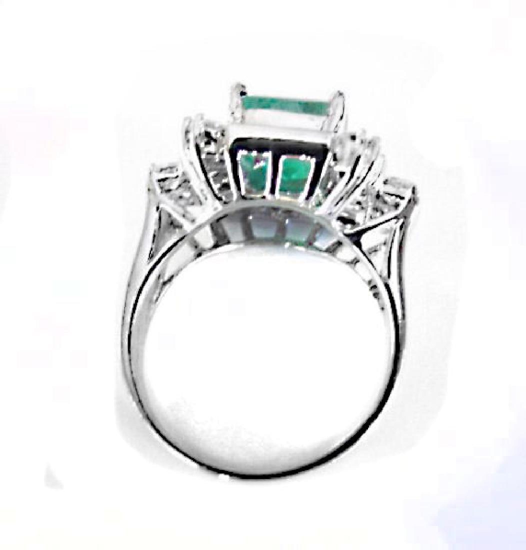Natural Emerald Diamond Ring 4.74Ct 14k W/g - 3