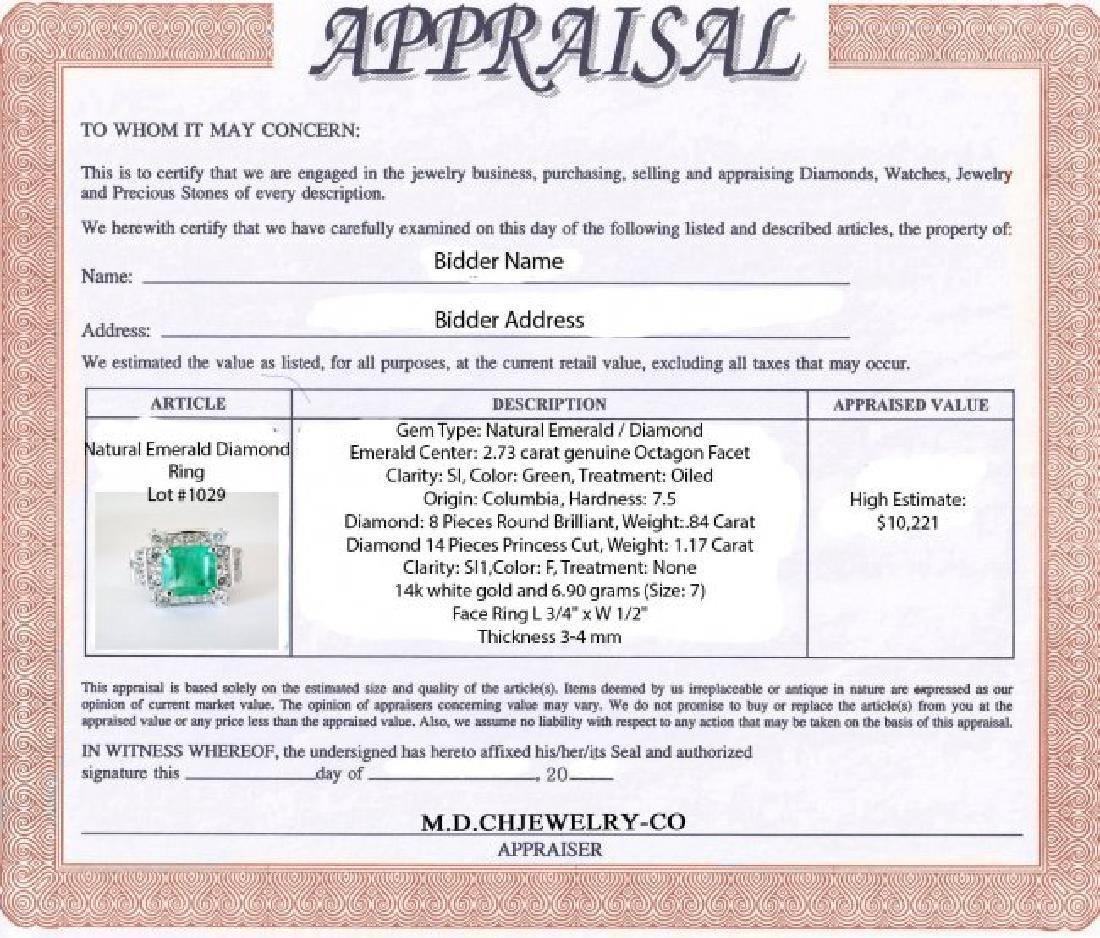 Natural Emerald Diamond Ring 4.74Ct 14k W/g - 4