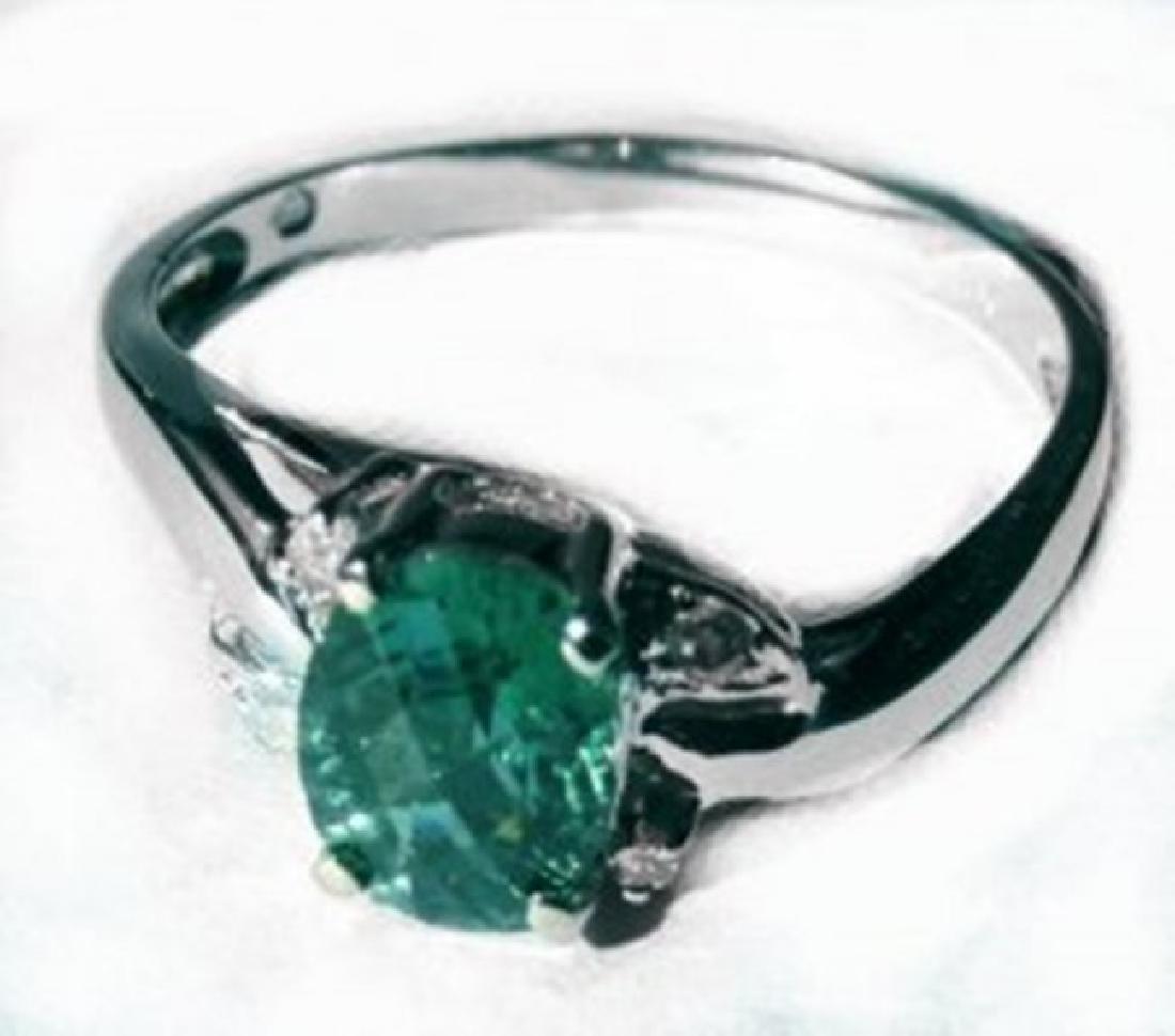 Anniversary Green Tourmalin Diamond Ring 1.30Ct 14k W/g - 2