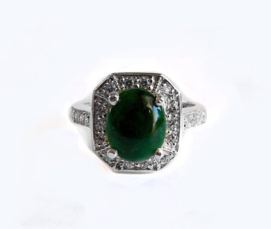 Anniversary Ring Imperial Jade/Diamond 2.98Ct 14k W/g
