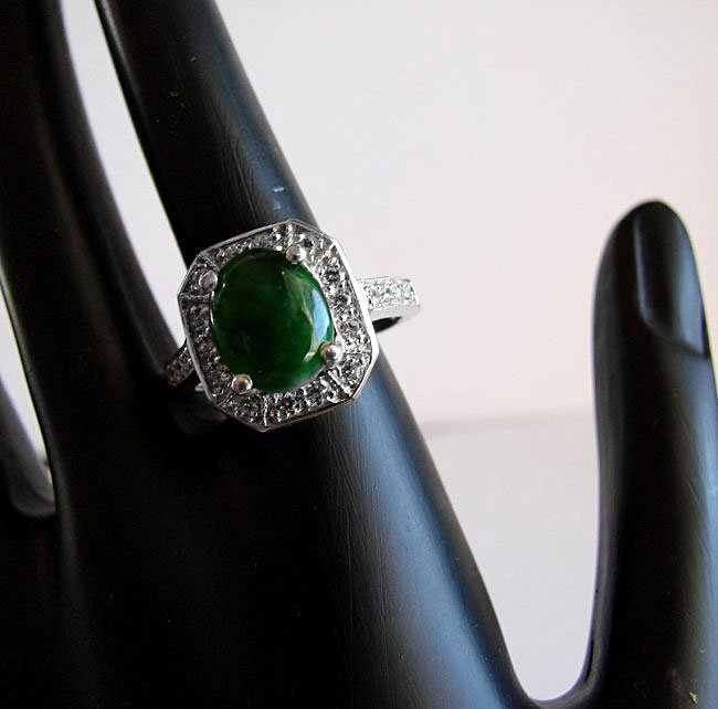 Anniversary Ring Imperial Jade/Diamond 2.98Ct 14k W/g - 2