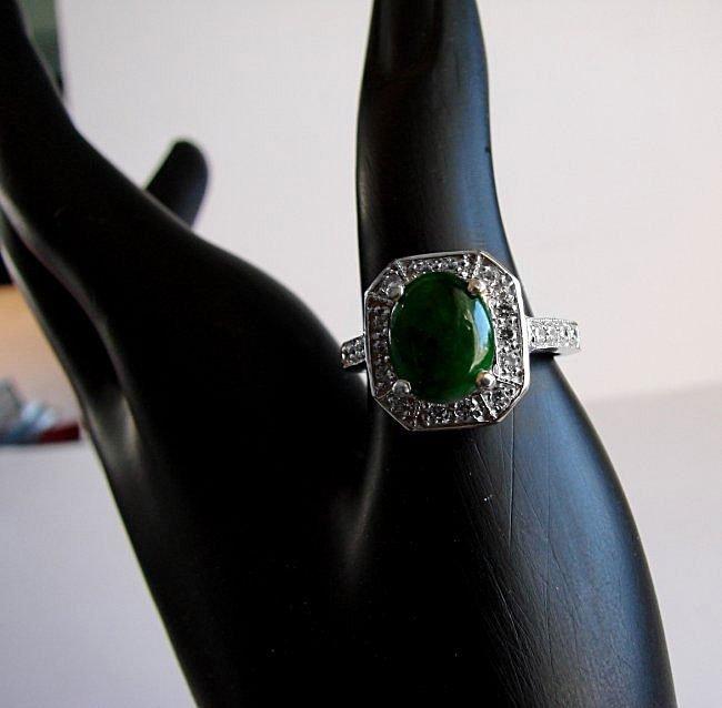Anniversary Ring Imperial Jade/Diamond 2.98Ct 14k W/g - 3