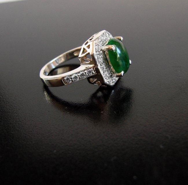 Anniversary Ring Imperial Jade/Diamond 2.98Ct 14k W/g - 4