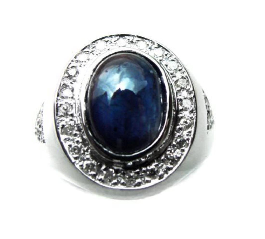 Men's Cabochon Sapphire Ring: 4.02Ct D:.52Ct 14k W/g