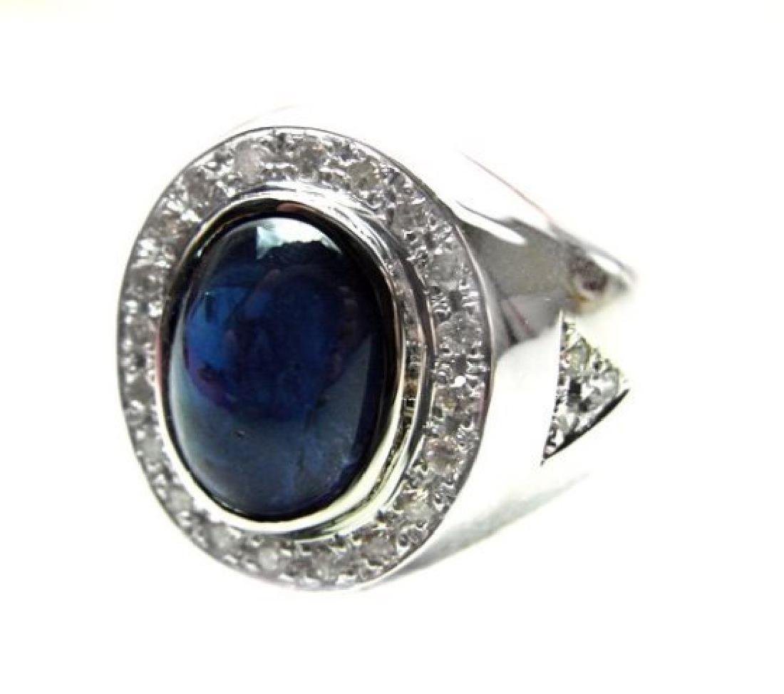 Men's Cabochon Sapphire Ring: 4.02Ct D:.52Ct 14k W/g - 2