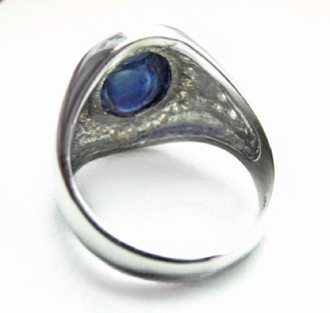 Men's Cabochon Sapphire Ring: 4.02Ct D:.52Ct 14k W/g - 3